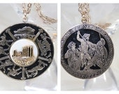 Reversible Pendant Necklace Scenes From Homers Iliad Odyssey Unusual Pendant Necklace Greek Scenes