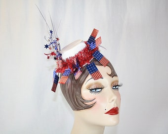 Fourth of July Mini Top Hat Red Silver Blue Patriotic Hat Fun Summer Party Hat Stars and Bars Hat