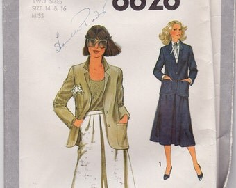 FF 70s Misses' Skirt and Unlined Jacket Vintage Sewing Pattern - Simplicity 8828 - Size 14 & 16, Bust 36 38, UNCUT