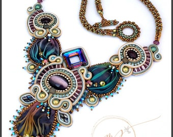 Shirobi silk soutache necklace in cream, purple blue and green