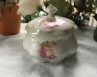 Antique Vanity Jar Luster Hand Painted Roses Made in Grrmany