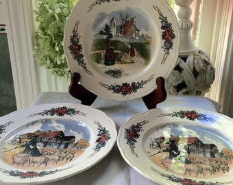 Set of 3 French Plates Obernal Country French Plates Sarreguemines France Plate Set