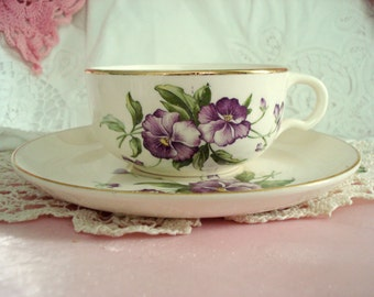 Vintage Teacup Purple Pansy Floral Shabby Cottage Chic Vintage Wedding Teacup and Saucer