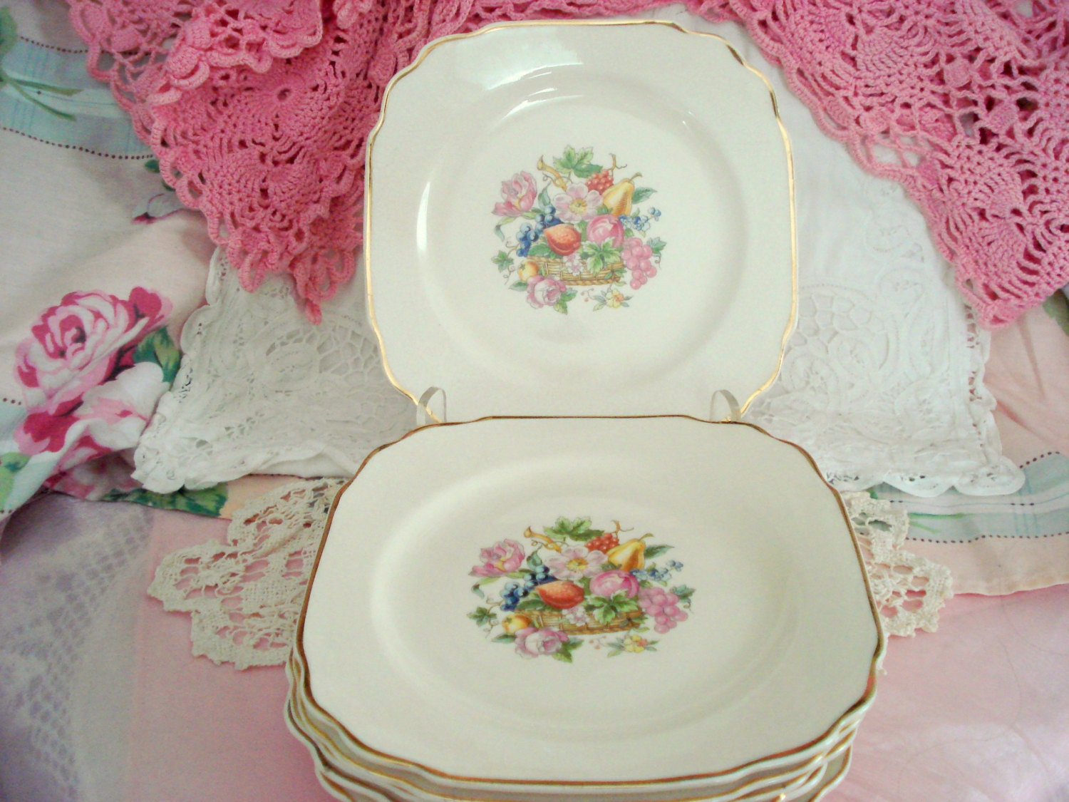 Vintage Wedding Dessert Plates Square Plates Bread Butter