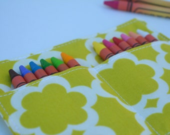 Girls crayon roll, up to 12 crayons, 6''x4.5''. Light green, moss color. Kids gift, girls gift.  Add crayons option.