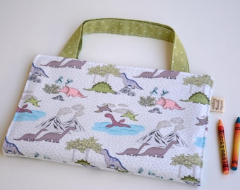 Kids coloring bag. Dinosaur fabric: pink, cream, grey, pale green.Art tote up to 14 crayons.Kids travel crayon bag 10,5x7,5''. Ready to ship
