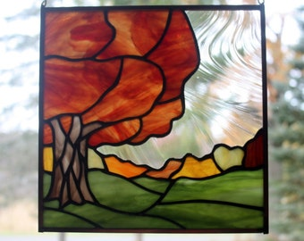 Fall Tree Landscape Stained Glass Panel 2, Fall Colors, Stained Glass Window, Glass Art