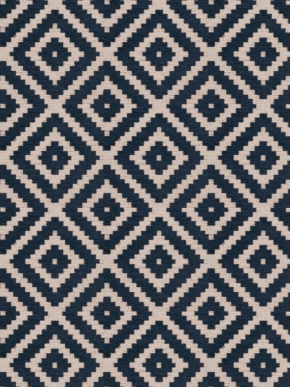 Navy Blue Geometric Chenille Upholstery Fabric For