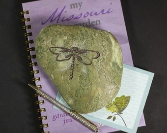 Dragonfly engraved stone