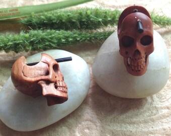 "Stick Post Earrings, ""Sahara Skull""  Naturally Organic, Saba Wood, Horn Posts, Hand Carved, Tribal"