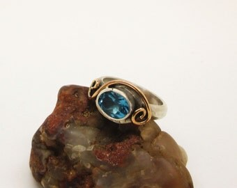 London blue topaz gold and silver ring, topaz ring, ring size 7, london blue topaz, alternative engagement ring, blue stone ring