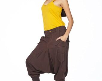 NO.95 Brown Cotton Jersey Casual Harem Pants, Unique Pockets Drop-Crotch Trousers, Unisex Pants