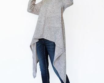 NO.189 Heather Gray Knitted Cowl Neck Long Sleeves Sweater, Knit Asymmetric Sweater, Women's Sweater