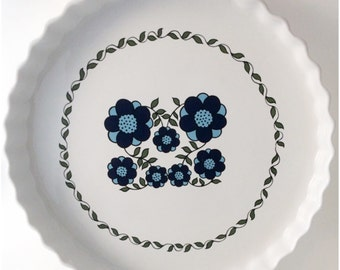 Blue Mod FLOWERS Taunton Vale Large Quiche Dish- Floral Kitchenalia- RETRO Midcentury-1970s Flower Power