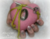 A heart to hold by JaynesLoveDoves Valentine heart pink felt heart and key