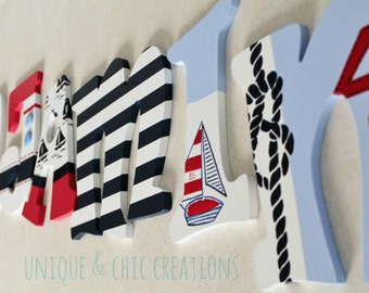 Red, Navy and White Regatta Themed Hand Painted Personalized Wooden Letters for Nursery, Bedroom, or Party