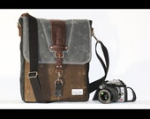 Large Waxed Canvas Messenger bag - vertical bag - TREE COLOR BAG - LV0010