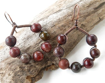 Wire wrapped earrings - earthy red gemstone beads copper wire wrapped hoops