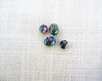 4)  Sky BLUE CLOISONNE' BEADS for Jewelry Making Oval and Round Beads-