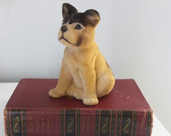 Flocked DOG Piggy BANK Felted German Shepherd Puppy Bank Hipster collectible VINTAGE Coin bank Puppy Kitsch Animal