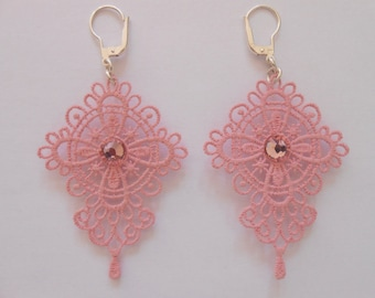 Lace earrings pink pastel with crystal pastes of swarovski and silver ties 925