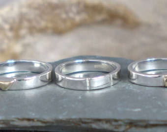 Geometric rings, sterling silver and 9ct gold, custom Handmade in UK, Fiona Lewis
