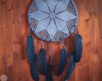 Dream Catcher - Dawn in the Forest - Unique Dream Catcher with Handmade Crochet Web and Dark Blue Feathers