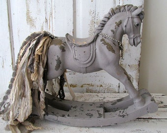 Rocking horse statue French farmhouse hand painted gray taupe decorative rhinestone embellished tattered tail home decor anita spero design