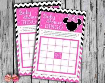 Minnie Mouse Hot Pink Dark Pink 2 Baby Shower Bingo Cards