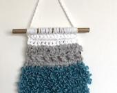 Handmade wall decoration white teal grey . Crochet