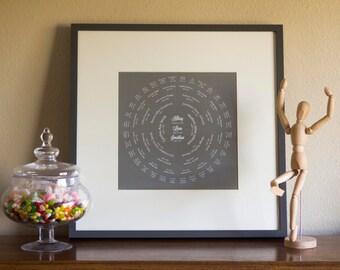 Modern Custom Family Tree Digital Art Print, Personalized Family History, Ancestry, Genealogy, Pedigree, Generation Chart - Colored Text