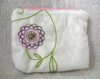 Cream Linen Small Hand Embroidered Coin Purse