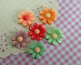 6 pcs Daisy Cabochons, 20 mm Asorted Color Mixed Flowers Floral Flatback Cabochons