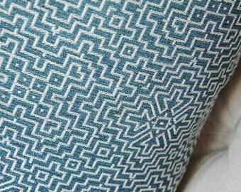 Blue Geometric Pillow Cover - Medium Blue Geometric - Blue and Ivory Woven Pillow Cover - Throw Pillow - Bohemian Decor - Blue Decor - Aztec