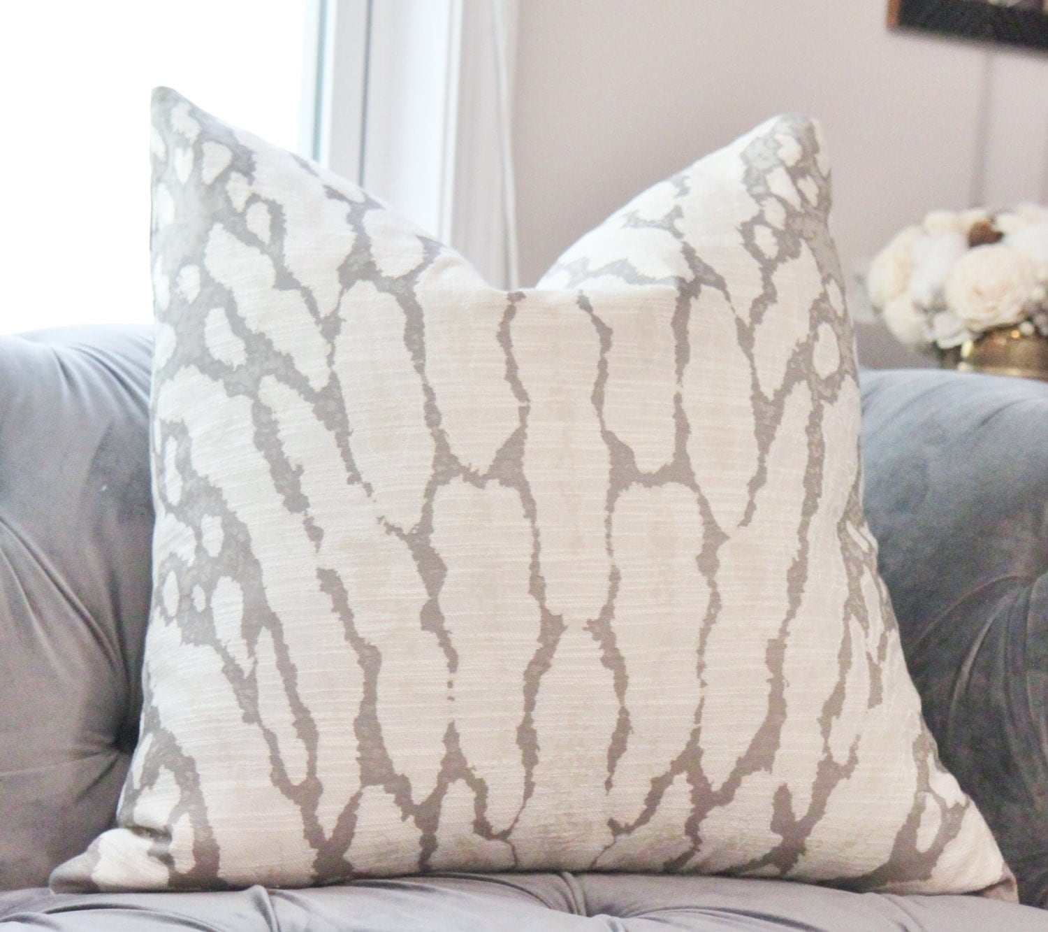 Animal Print Gray Pillow Grey Woven Large Scale Pillow Cover