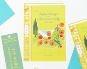 Faux book wedding invitation with separate bookmark rsvp card - retro illustration style