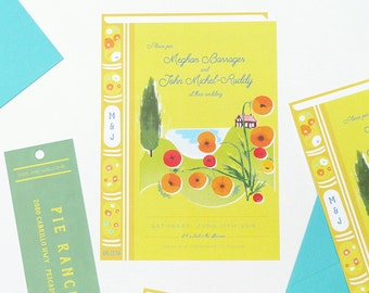 Book cover wedding invitation with separate bookmark rsvp card - retro illustration style