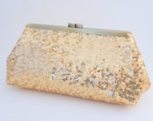 Gorgeous Gold Sequin Clutch Purse - Evening/Wedding/Formal/Prom Handbag- Includes Shoulder Chain - Made to Order