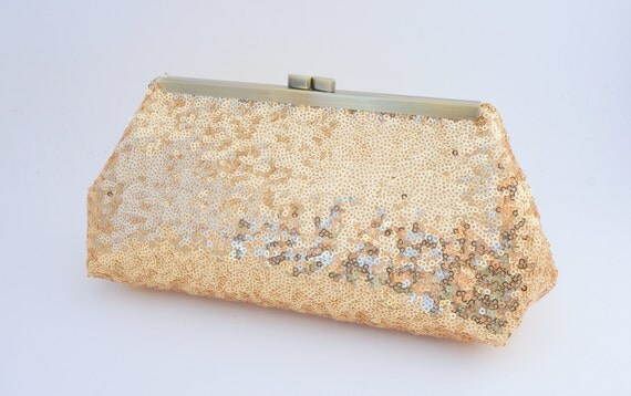 Gorgeous Gold Sequin Clutch Purse - Evening/Wedding/Formal/Prom Handbag- Includes Shoulder Chain - Ready to Ship