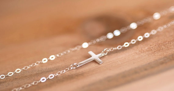 Sideways Cross Necklace, Kelly Ripa Cross Necklace , Celebrity Necklace, Sterling Silver Sideways Cross, Bridesmaid Gift, Simple Cross