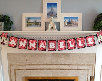 Red Polka Dot MINNIE MOUSE Disney Name Banner