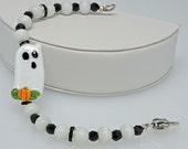 WHIMSICAL GHOSTIE:  Artist Lampwork Glass Bracelet White Black Ghost Halloween