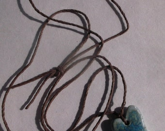 Blueglazed Heart Necklace on Hemp Cord Gift For Her One of a Kind