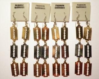 4 Pairs of Razor Blade Earrings