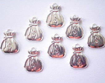 10 Silverplated Money Bag Charms