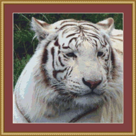 White Tiger Cross Stitch Pattern /Digital PDF Files /Instant downloadable