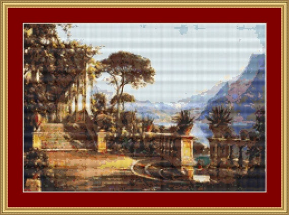 Lodge On Lake Como Cross Stitch Pattern /Digital PDF Files /Instant downloadable