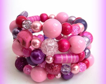 Pinks and Purples Sugar Skull Memory Wire Bracelet Chunky Bracelet