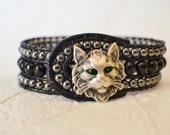 Boho Cat Bracelet, Cat Bracelet, Beaded Cat Cuff, Cat Jewelry, Cat Lover Gift, Beaded Cat Cuff, Cat, Bohemian Bracelet, Gift for Her