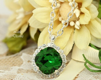 Green Necklace Emerald Necklace Bridesmaid Green Necklace Swarovski Necklace Dark Green Crystal Necklace Green Weddings Square Cut DM50N